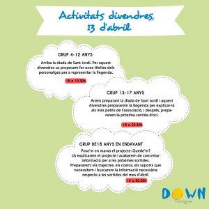 Activitats, divendres 13 abril